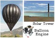 Balloon engine v. solar tower.