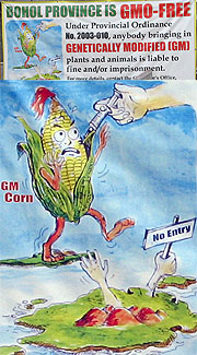 Philippines provincial banner announcing banned GMO crops.