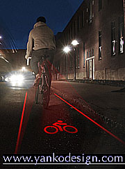 Light Lane virtual bike lane lasers.
