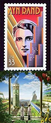 Ayn Rand stamp and Scientific American farm skyscraper illo.