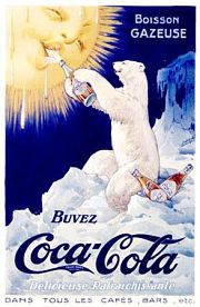 Coca Cola French Polar Bear Poster
