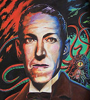 Detail of H.P. Lovecraft portrait.